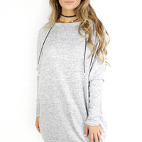 Silent Crush Heather Grey Sweatshirt dress