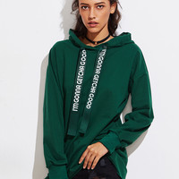 Letter Print Strap Long Hoodie
