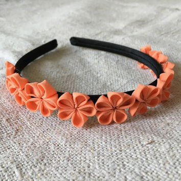 Flower headband Coral headband Floral headband Baby headband Flower crown Flower headpiece Fabric floral headband Boho headband Baby shower