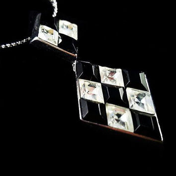 "Trifari Harlequin Pendant Necklace Black White Glass Rhinestones Diamond Cut Silver Metal Geometrics Art Deco 24"" Vintage"