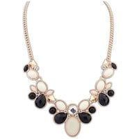 Best® New Fashion Crystal Rhinestone Flower Bib Chunky Statement Necklace for Women Girls Lady (Black)