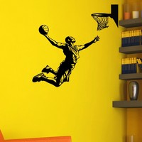 Basketball Player Wall Decal Vinyl Sticker Game Sport Wall Decor Home Interior Design Art Mural Boy Room Kids Nursery Bedroom Dorm Z751