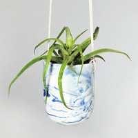 ONE-OF-A-KIND blue marbled planter
