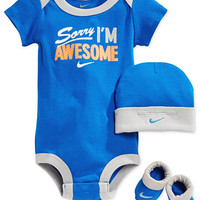 Nike Baby Boys' 3-Piece Awesome Bodysuit, Hat & Booties Set | macys.com