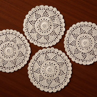 """Vintage Star Doilies- Handmade CROCHET DOILIES- Table  Decor- Round Placemat - Coaster - Natural and White Color - 6"""" Inches"""