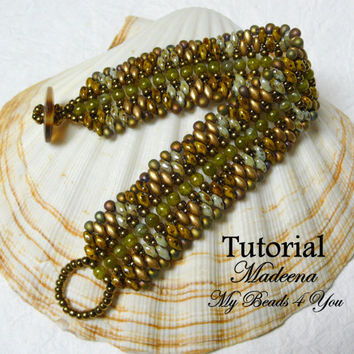 PDF Beading Tutorial, Superduo Bracelet Pattern, Beadweaving Tutorial,Pattern,Seed Bead Tutorial,PDF Superduo Tutorial, Beading Instructions