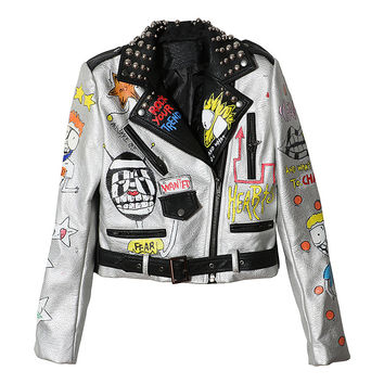 Graffiti Printed Faux Leather Sliver Jacket