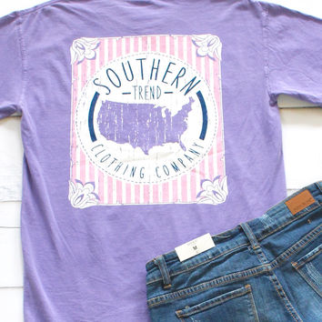 Southern Trend USA Short Sleeve Tee {Violet}