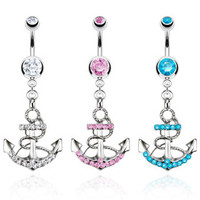Jeweled belly ring with dangling jeweled anchor
