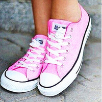 """Converse"" Fashion Canvas Flats Sneakers Sport Shoes Low tops Pink"