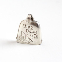 Vintage Sterling Silver Ding Dong Bell Baby Rattle - 1930s Pendant Charm with Belt Buckle Bail Keepsake