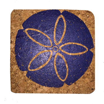 Round Sand Dollar-Coastal Cork Coasters-Hostess Gift/Party/Home Decor-Navy Blue