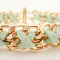 Cross Weave Bracelet in Mint Green