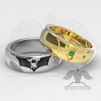 BAT BAND .925 OR 14K WHITE OR YELLOW GOLD RING CUSTOMMADE HANDMADE ***MADE TO ORDER – 030