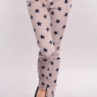 Taupe Navy Stars Print Skinny Jeans