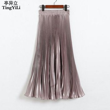 TingYiLi Long Pleated Skirts European Style Fashion Summer Long Skirts Womens Black White Gold Purple Green Silver Maxi Skirt