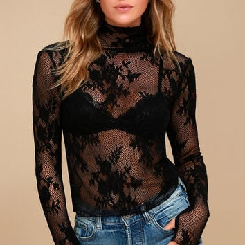 Free People Sweet Secrets Black Lace Turtleneck Top