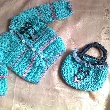 Crochet Baby Sweater jacket cardigan coat  with mouse  shower gift mintgreen  baby crochet set