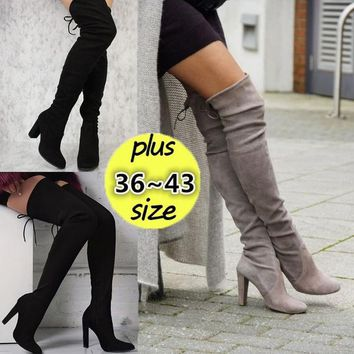 36~43 PLUS SIZE Women Stretch Slim Thigh High Boots Sexy Fashion Over the Knee Boots High Heels Woman Shoes