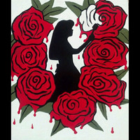 Alice In Wonderland Painting, Alice In Wonderland Art, Hand Painted Wall Decor,Wonderland art, Red Rose Decor, Silhouette On Wood Art,