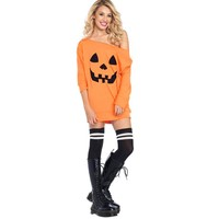 Women Cold Shoulder Pumpkin Costume Sexy Mini Dress