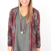 Maroon and Charcoal Open Front Aztec Pattern Cardigan