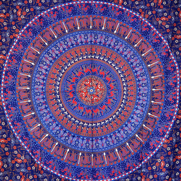 Elephant & Camel  Mandala Tapestry, Indian Hippie Wall Hanging , Bohemian Bedspread, Mandala Cotton Dorm Decor Beach blanket