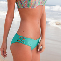 The Girl and The Water - L*Space Swim - Lacey Bikini Bottom Peacock