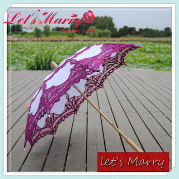 Vintage Purple Lace Embroidery Umbrella Cotton Battenburg Wedding Bridal Umbrella Parasol Umbrella Decoration Free Shipping