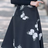 2016 Autumn Butterfly Printed Black High Waist Midi Skirt