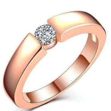 Resplendent Round Cut CZ Classic Finger Ring Rose Gold & Silver Tone