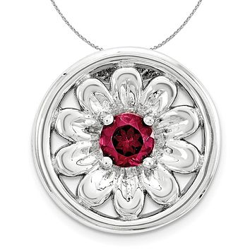 Silver & Created Ruby Stackable Small Flower Slide, 12mm Necklace