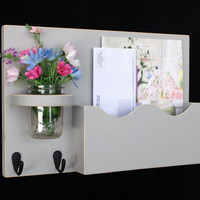 Mail Organizer - Mail Holder - Letter Holder - Mail and Key Holder - Mail Sorter -Key Hooks - Mason Jar Vase