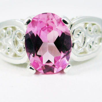 Sterling Silver Pink Sapphire Oval Filigree Ring, September Birthstone Ring, Sterling Silver Filigree Ring, 925 Filigree Ring