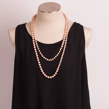 Vintage Pink Graduated Pearl Rope Necklace, Necklace for Women, Free US shipping