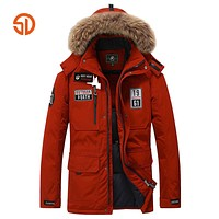 Fashion Clothing Thick Winter Jacket Men Coat With Fur Hooded Outwear Thickened Warm Fur Collar Coat Blue Red Khaki