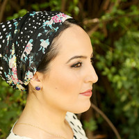 Black head scarf – Floral headcovering  – Hair snoods – Cotton Headpiece