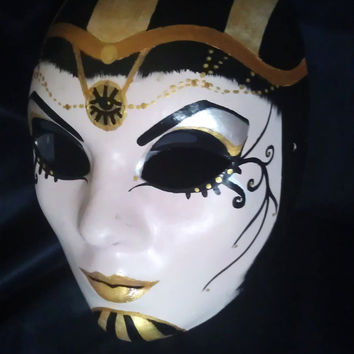 Mysterious & Beautiful, Hand Painted Egyptian Queen Mask, Paper Mache' ooak