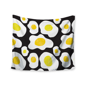 "Vasare Nar ""Fried Eggs Pattern"" Yellow Pop Art Wall Tapestry"