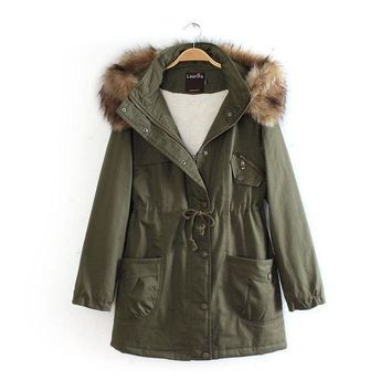 DCKL9 2017 winter women's new long section of the military green coat [186323337242]