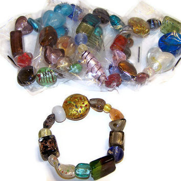Bracelets, stretch, glass, multicolored, multi-shapes, 8 inches with double elastic - Five (5) per purchase