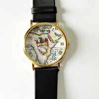 Map Watch, Vintage Style Leather Watch, Women Watches, Unisex Watch, Boyfriend Watch Black