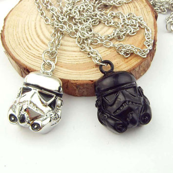 1pc free shipping Movie Jewelry Necklace Star Wars Darth Vader Robot Head Pendant Necklace 2 Colors