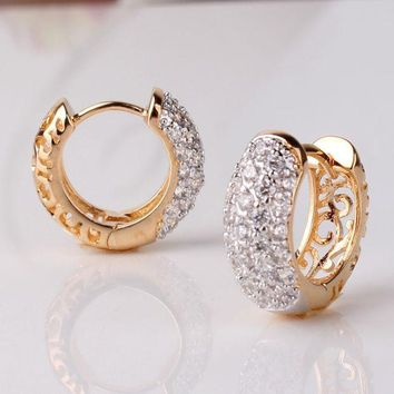 VONC1Y GULICX Round Crystal Earrings for Women Gold-color Hoop Earrings CZ Stone Cubic Zirconia Earring Vintage Jewelry E133