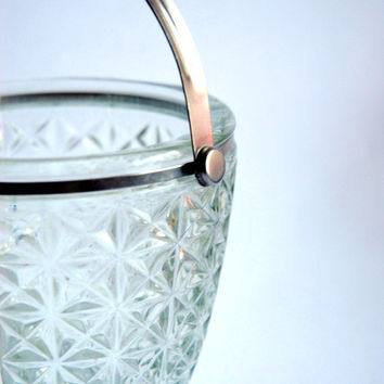 Diamond Cut Glass Ice Bucket, Vintage Drinkware, Clear Cut Glass Ice Bucket Metal Handle Or Sugar Bowl