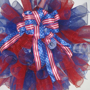 Red White & Blue Patriotic Curly Deco Mesh Wreath