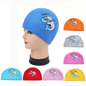Cartoon Dolphin Waterproof PU Fabric Long Hair Ear Protection Children Kids Swim Pool Water Sport Swimming Cap Hat for Boys Girl