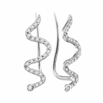10kt White Gold Women's Round Diamond Snake Climber Earrings 1-6 Cttw - FREE Shipping (USA/CAN)
