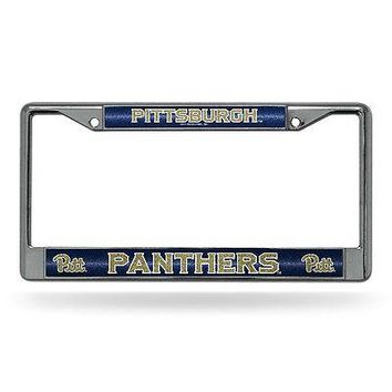 Pittsburgh PITT Panthers NCAAGlitter Bling Chrome Auto License Plate Frame