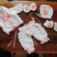 Baby Girl Take Home Outfit, Newborn Coming Home Outfit, Crochet Baby Take Home Outfit, Cardigan, Pants, bonnet , Mittens and booties